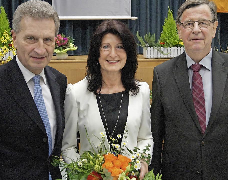 EU-Kommissar Oettinger, Ersatzkandidat... Wahlkreis Kehl, Willi Stächele (r.).     Foto:  tor