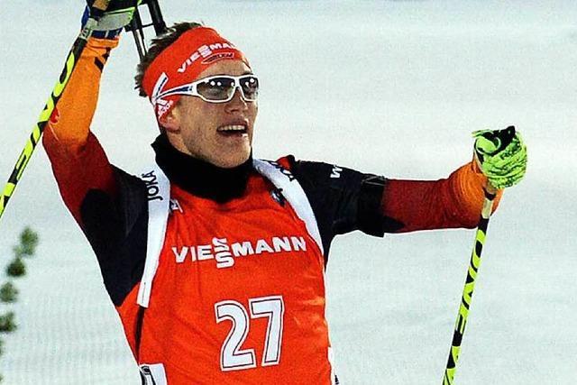Benedikt Doll von der Skizunft Breitnau läuft aufs Podium