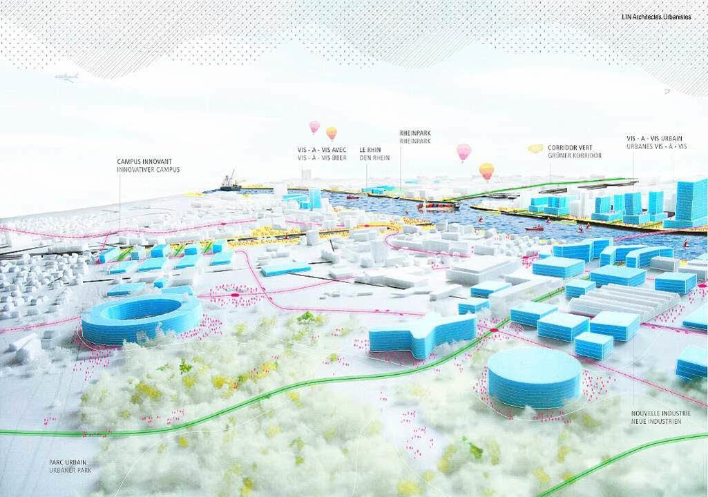 So könnte der geplante trinationale Stadtteil in ein paar Jahrzehnten aussehen.     Foto: Visualisierung IBA Basel/LIN