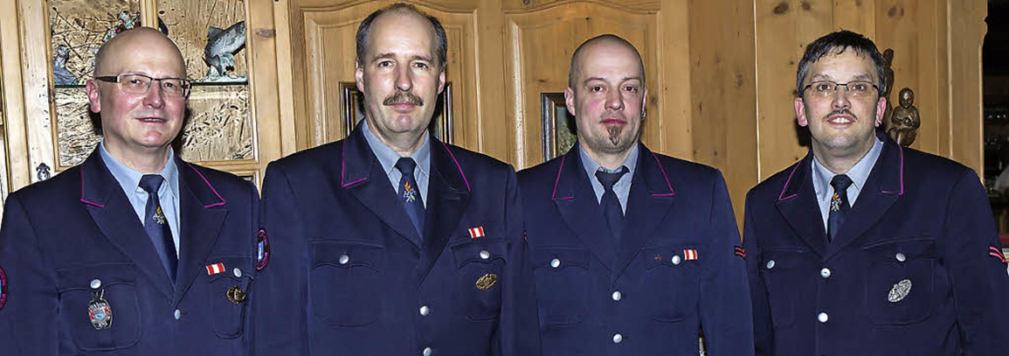 Gesamtwehrkommandant Guido Strittmatte... Rolf Schlatter und Christian Gantert.    Foto: Chris Seifried