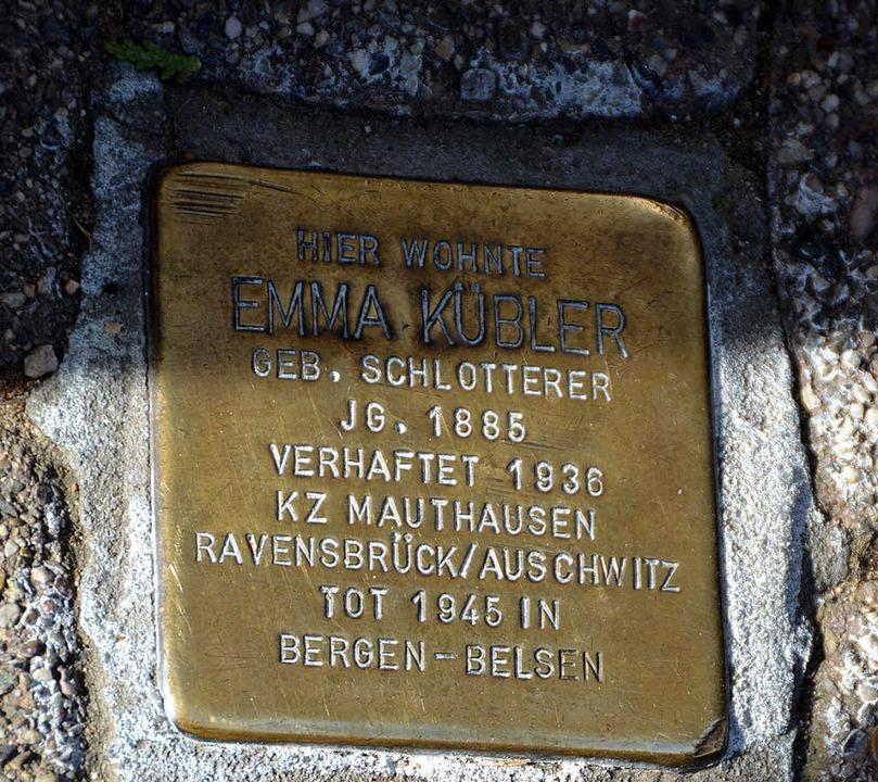 Einer von acht Stolpersteinen in Badenweiler     Foto: Sigrid Umiger