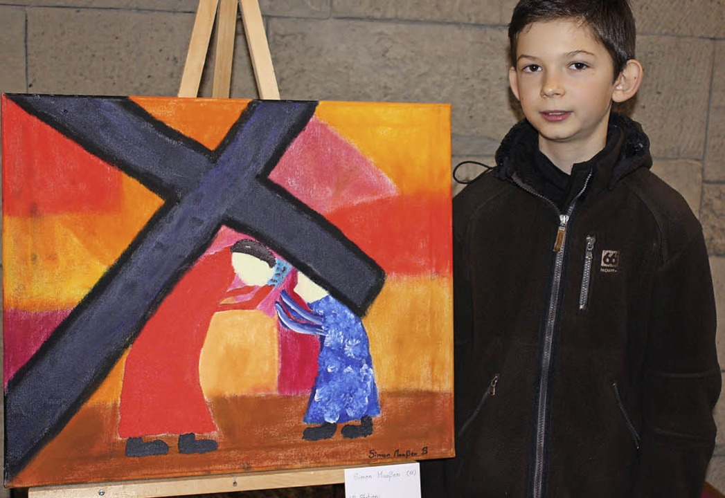 Der elfjährige Simon stellt mit seinem...die Begegnung Veronikas mit Jesus dar.  | Foto: Gabriele Fässler