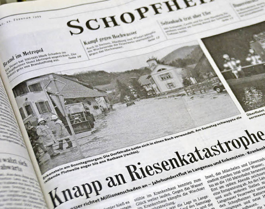 """Ungute Erinnerungen aus dem BZ-Archiv:...nd Langenau: """"Land unter"""".    Foto: Hönig"""