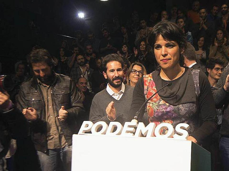 Gedämpfter Jubel: Podemos-Kandidatin Teresa Rodriguez   | Foto: dpa