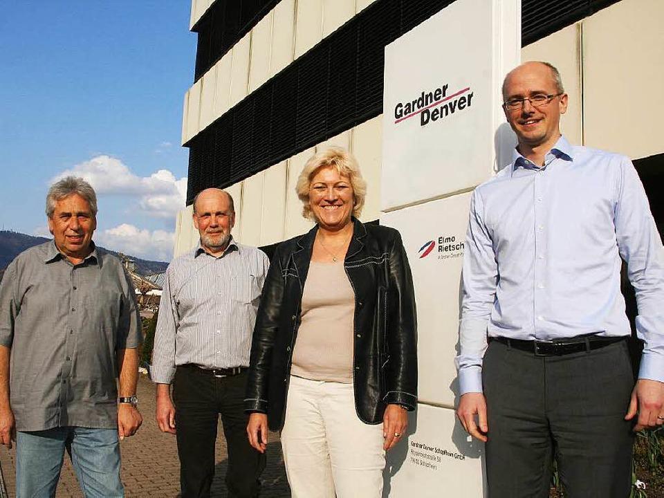 Ralf Kurz (Betriebsrat), Friedrich Jus...rten über die Pläne bei Gardner Denver  | Foto: Marlies Jung-Knoblich