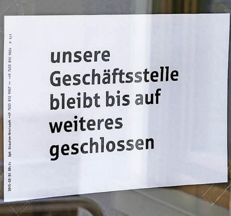 Aushang an der Gottenheimer Sparkassenfiliale   | Foto: manfred frietsch