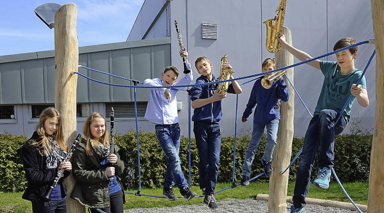 Bronzeprüfung der  Minselner Musiker b...ermann, Ron Wagener und Leon Hunzinger  | Foto: ZVG