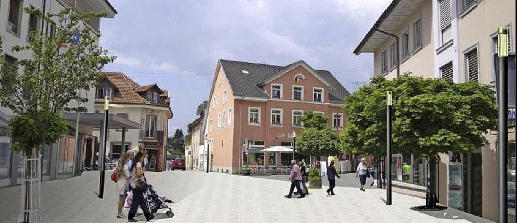 Eine verlängerte Fußgängerzone steht i...soll zeigen, wie das aussehen könnte.     Foto: Planungsgruppe Kölz