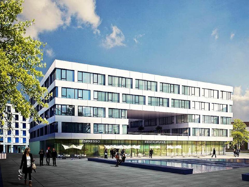 So soll das erste von mehreren Bürogebäuden aussehen.   | Foto: Visualisierung: Strabag Real Estate GmbH