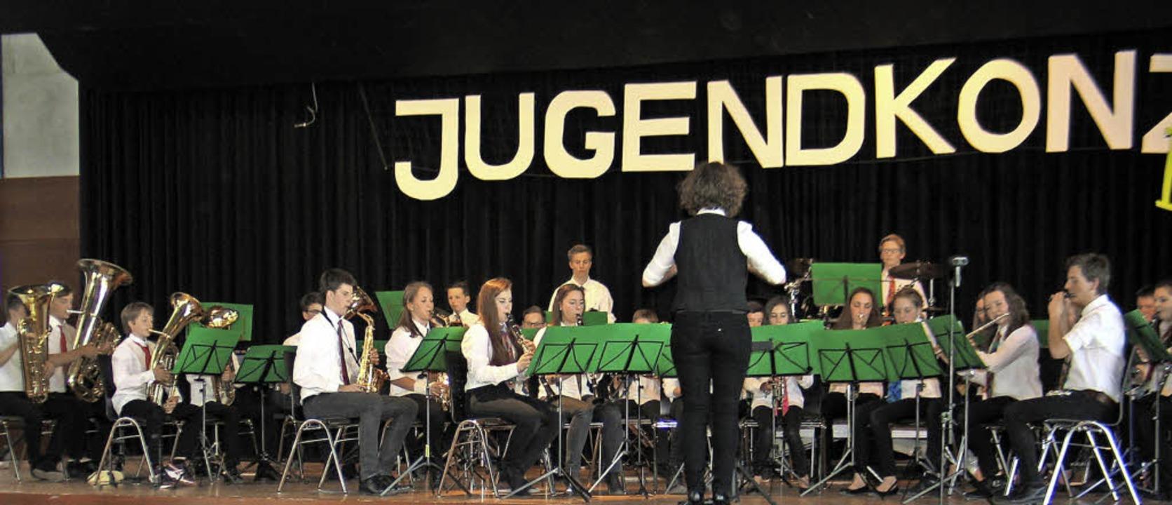 Die Riegeler Jungmusiker bei ihrem Jubiläumskonzert in Aktion.   | Foto: Helmut Hassler