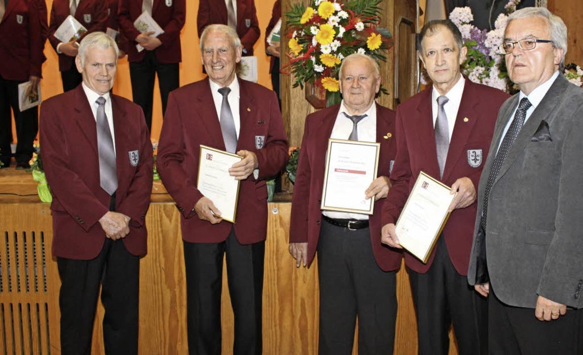 Langjährige Sänger des  MGV Steinenstadt wurden geehrt.   | Foto: Grziwa