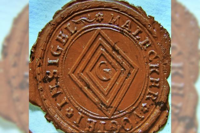 Das alte Malecker Wappen im Freiburger Stadtarchiv