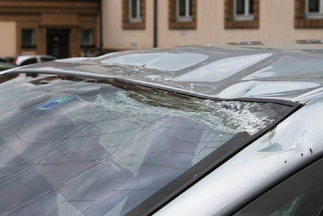 Maibaum-Spitze stürzt vor Bonndorfer Grundschule auf ein Auto