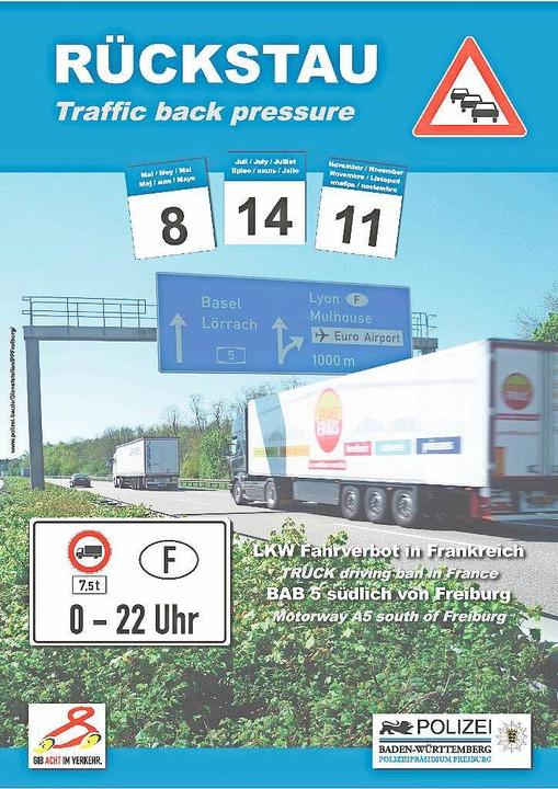 Mit diesem Flyer weist die Autobahnpol... heutigen Feiertag in Frankreich hin.   | Foto: Polizei