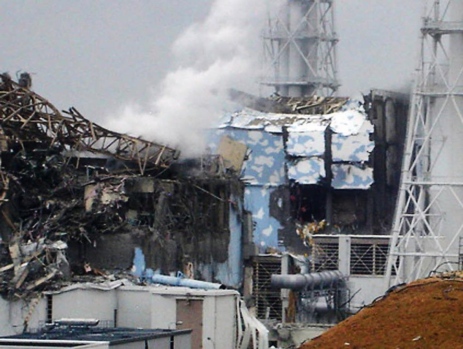 Unbeherrschbare Kräfte: Dieses Foto vo... zerstörte Atomkraftwerk in Fukushima.  | Foto: AFP