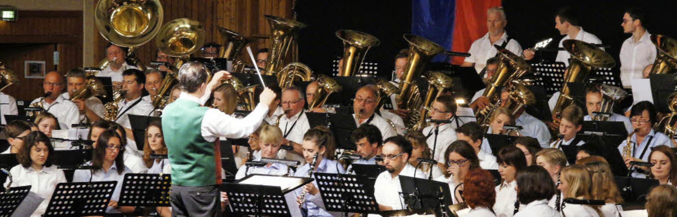 Die Kapellen aus ganz Kenzingen traten...meinsam als großartiges XXL-Orchester.  | Foto: Ilona Hüge