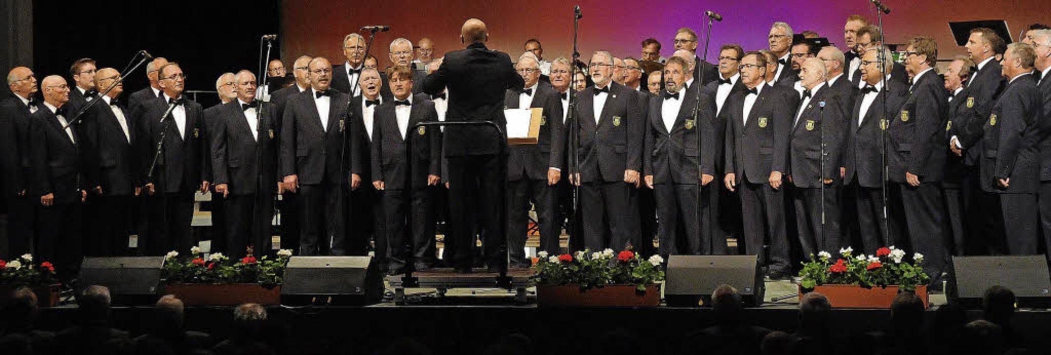 Der 50 Mann starke Polizeichor Lahr be...und das Polizeimusikkorps Mannheim.     | Foto: Wolfgang künstle/Babette Staiger (2)