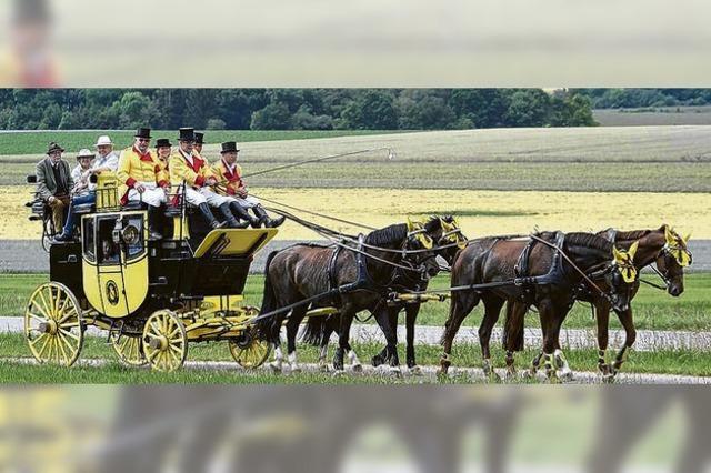 Der Markgraf von Baden hoch auf dem gelben Wagen