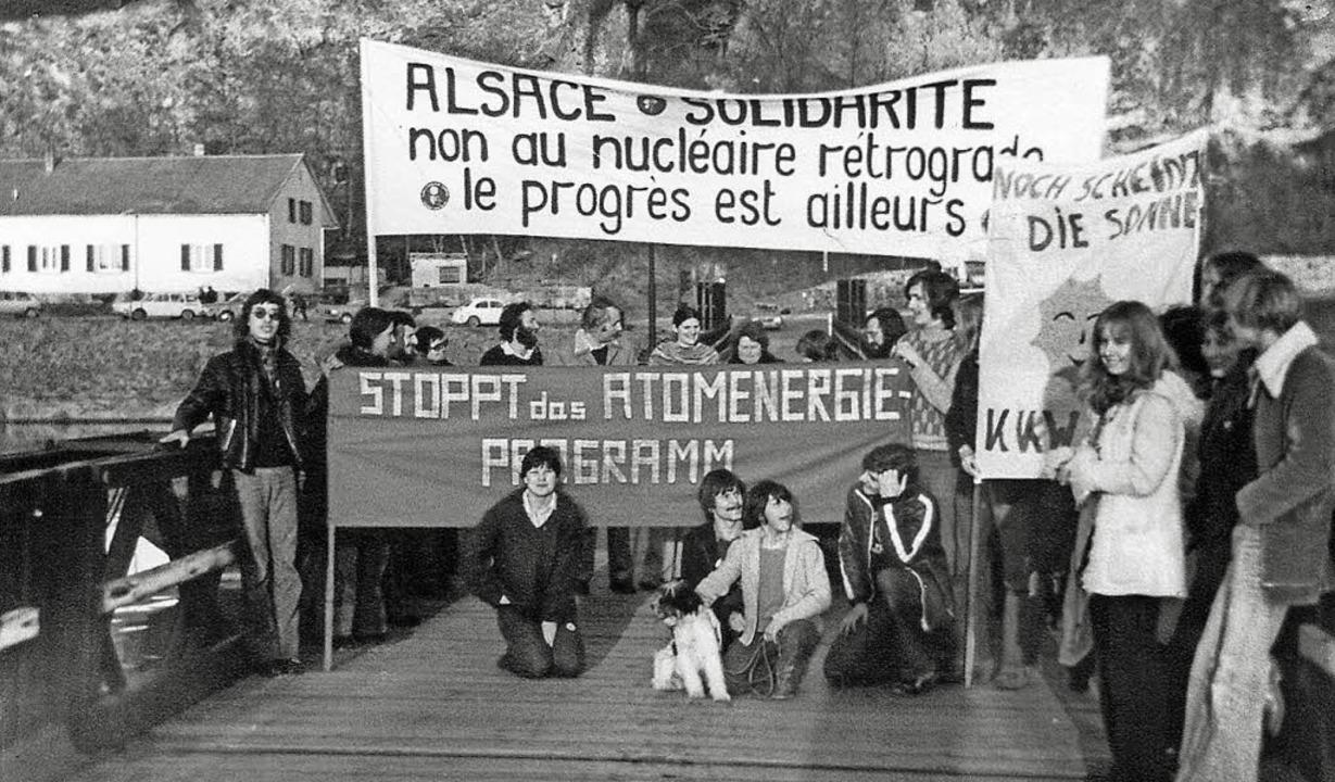 Markgräfler im Kampf gegen die Atomkra...asbach -Marckolsheim, vermutlich 1979.    Foto: Ernst-Udo Kaufmann
