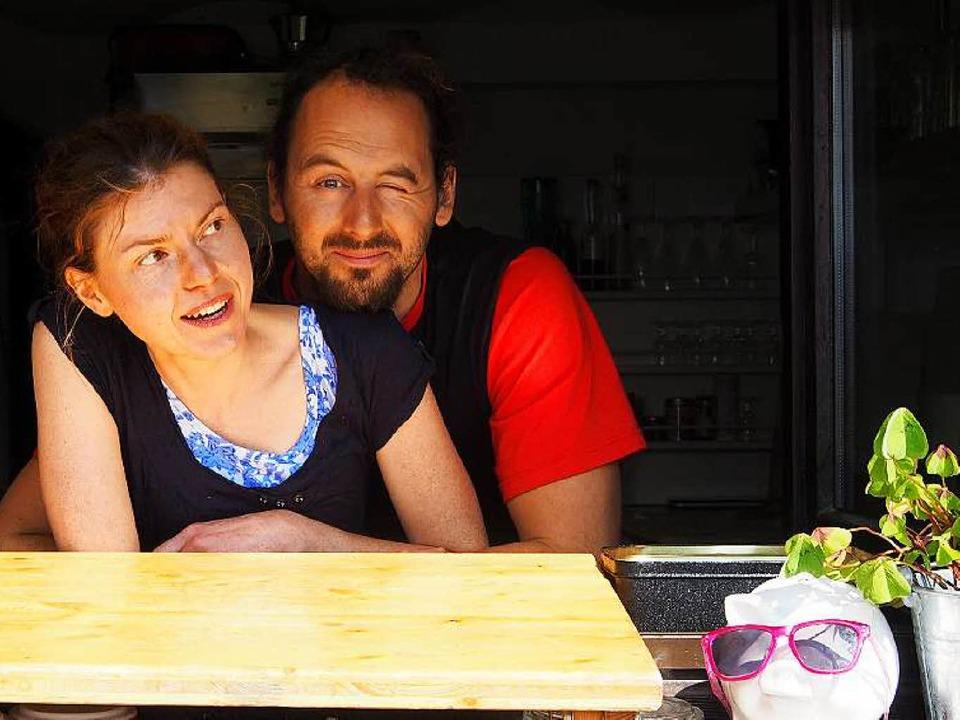 "Andrea Fischer und Andreas Beha am &qu...i"" bei der Gummenhütte am Kandel.  | Foto: Privat"