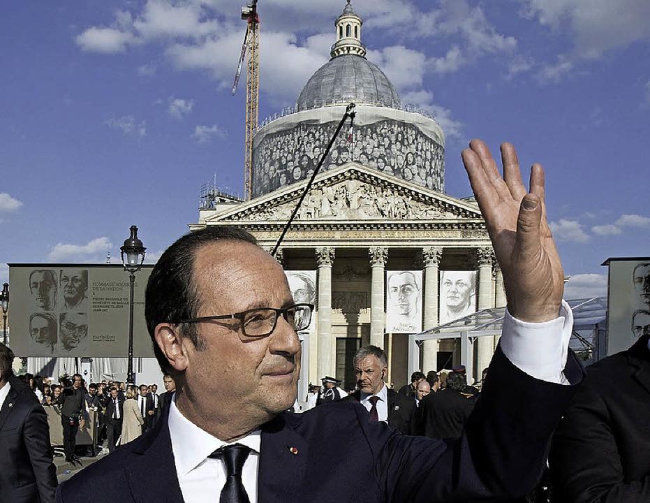 Staatspräsident Hollande vor dem Panthéon   | Foto: AFP