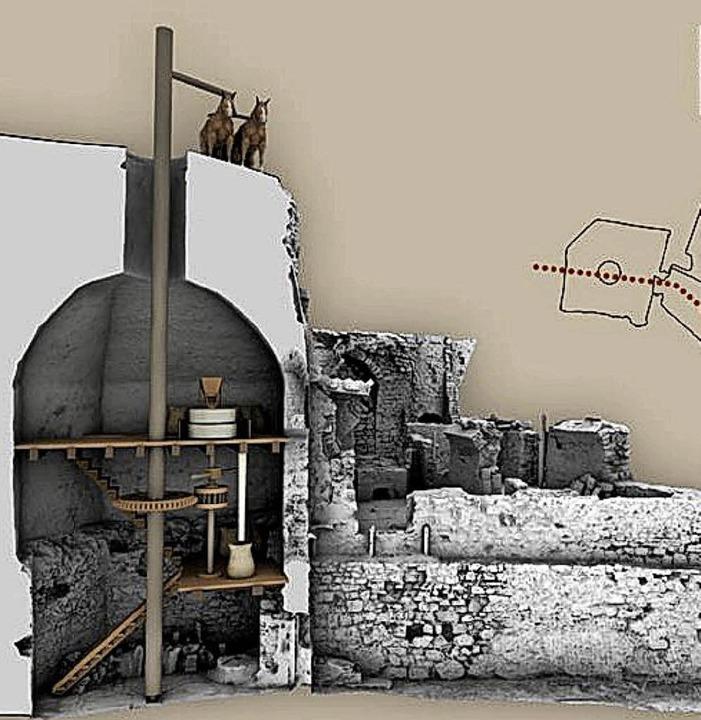 Die Rossmühle als 3D-Modell mit Hinweisen auf die wahrscheinliche Gestaltung.  | Foto: privat