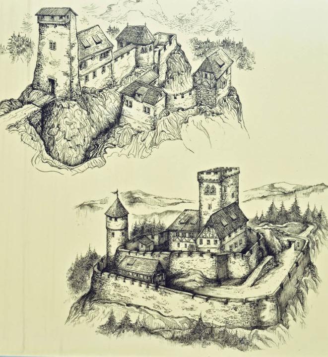 Die Rekonstruktionen der Burg Falkenst...nd als Buchillustrationen entstanden.   | Foto: Gerhard Lück