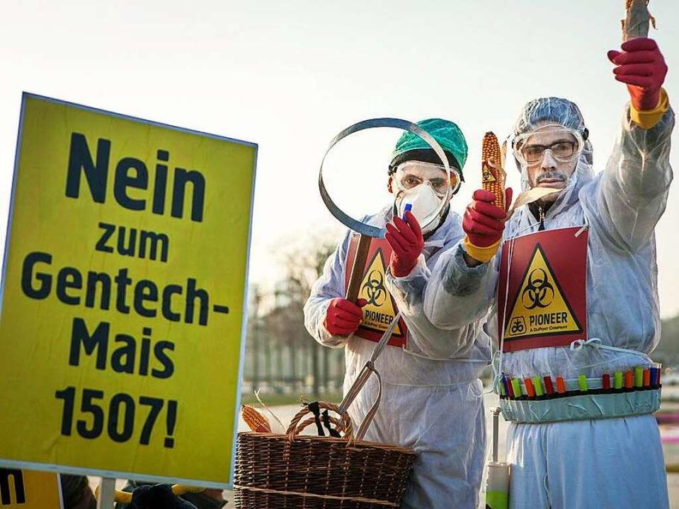 Protest gegen gentechnisch veränderten Mais nahe des Kanzleramts  | Foto: Jakob Huber/Campact E.V.