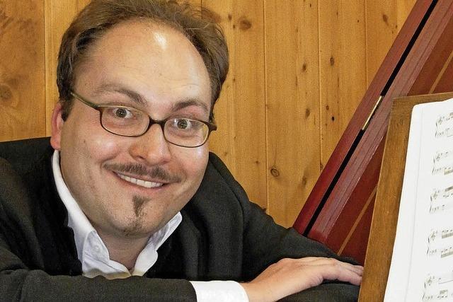 Jürgen Braun und Stefan Pöll in der katholischen Kirche in Merzhausen