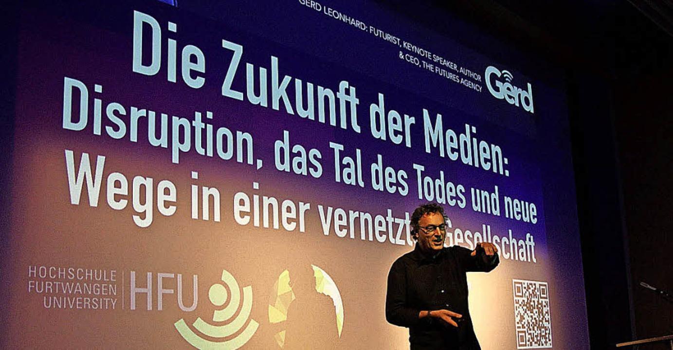 Gerd Leonhard prognostizierte künftige Entwicklung der Mediennutzung.    Foto: Hochschule Furtwangen