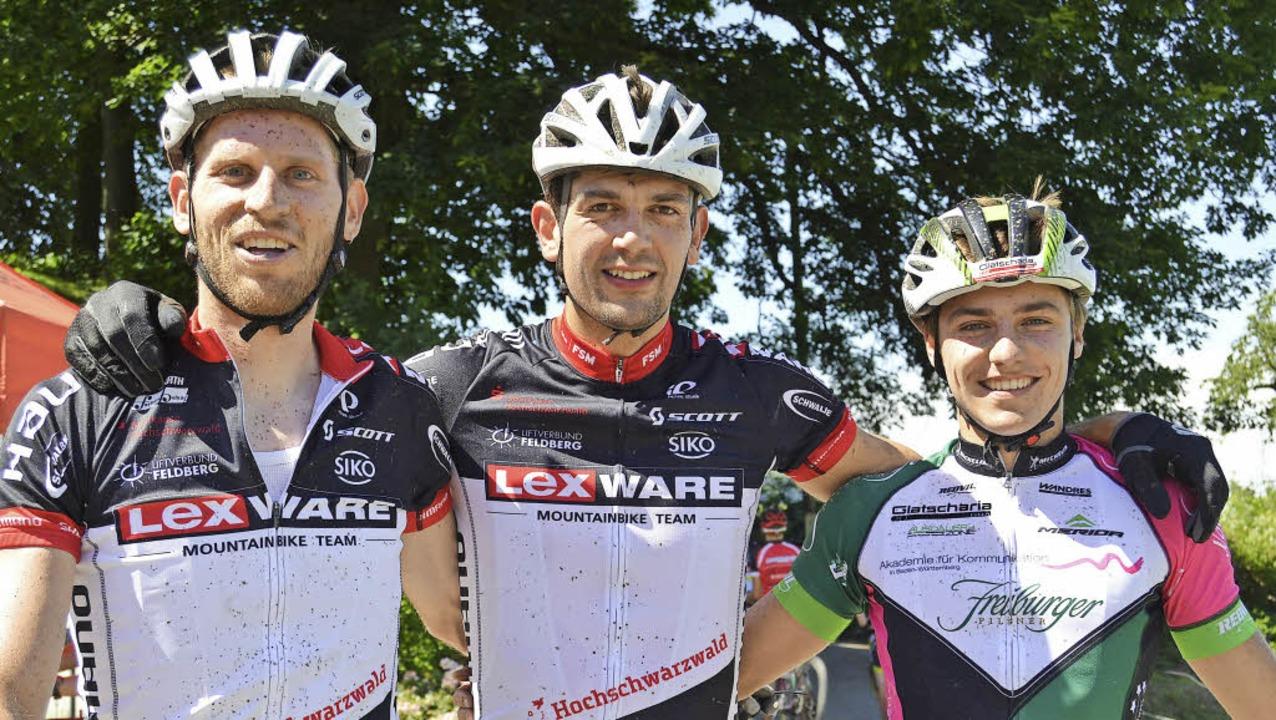 Vorausfahrer der Eliteklasse:  Matthia...ks), Heiko Gutmann und Johannes Bläsi   | Foto: Junkel