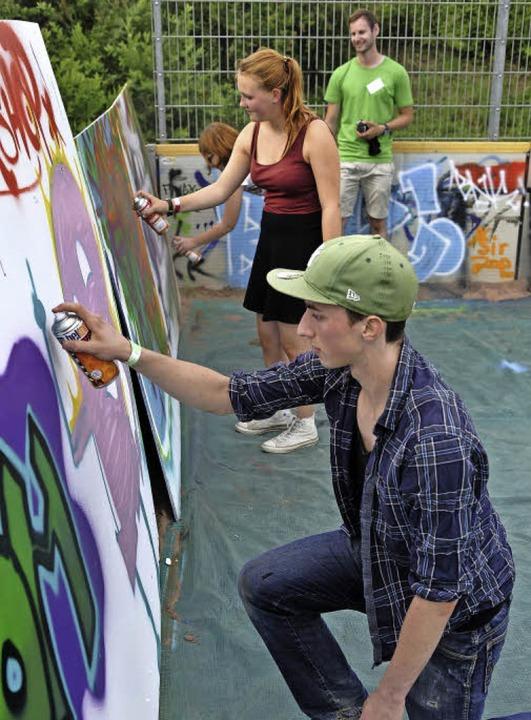 Auch einen Graffiti-Workshop gab's.  | Foto: Thomas Kunz