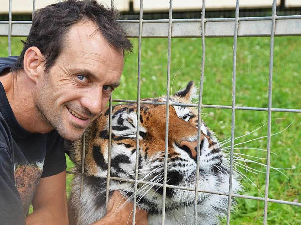 Raubtiertrainer Christian Walliser schmust mit einem seiner Tiger.  | Foto: Martin Wunderle