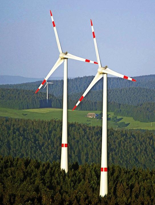 Windräder wie hier am Kandel möchten d...mmunalpolitiker am Blauen nicht sehen.  | Foto: DPA