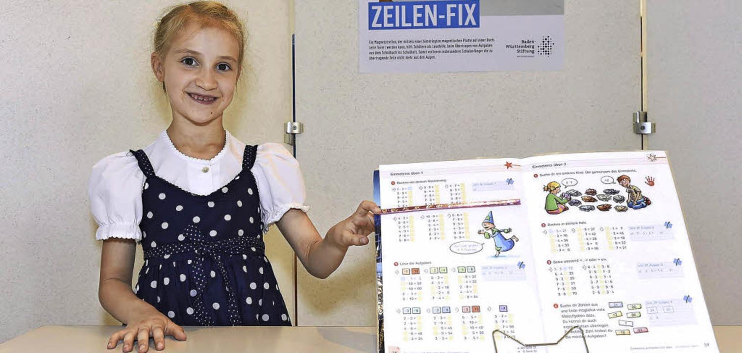 Rebecca Huber und ihre Erfindung: der ... beim Abschreiben von Aufgaben hilft.   | Foto: AFE/KD Busch