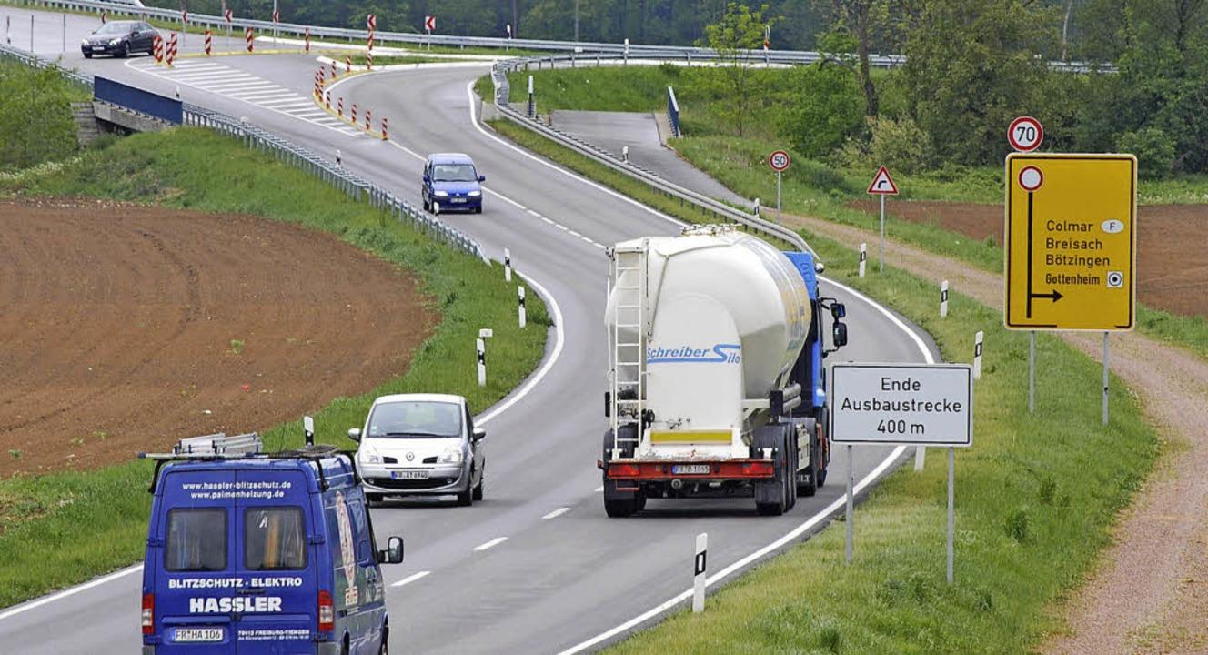 Ende der Ausbaustrecke bei Gottenheim ...tellungsverfahren wieder aufzunehmen.   | Foto: BZ-Archiv