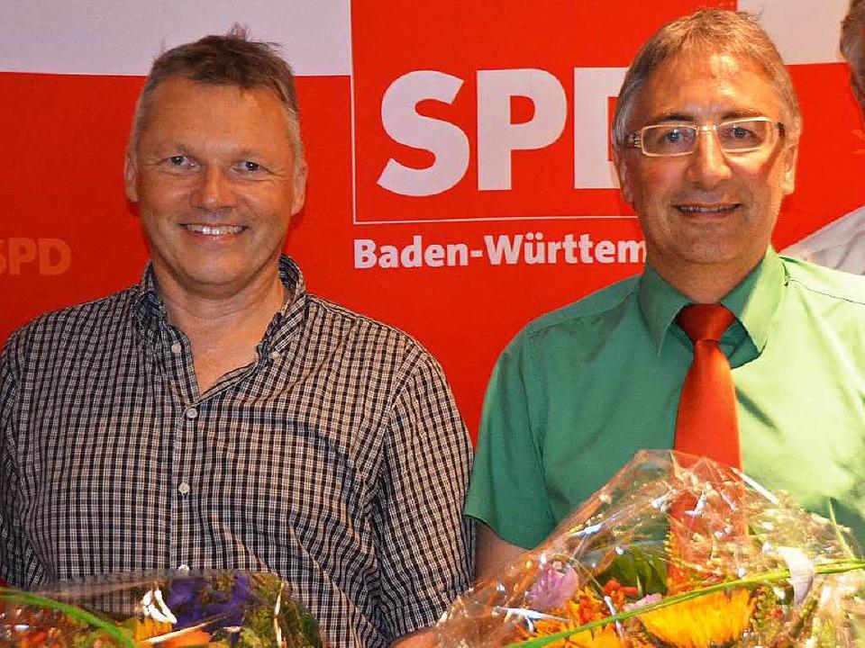 Ziehen für die SPD im Wahlkreis 46 in ...er Krögner (links) und Dieter Köpfler.    Foto: Tanja Bury
