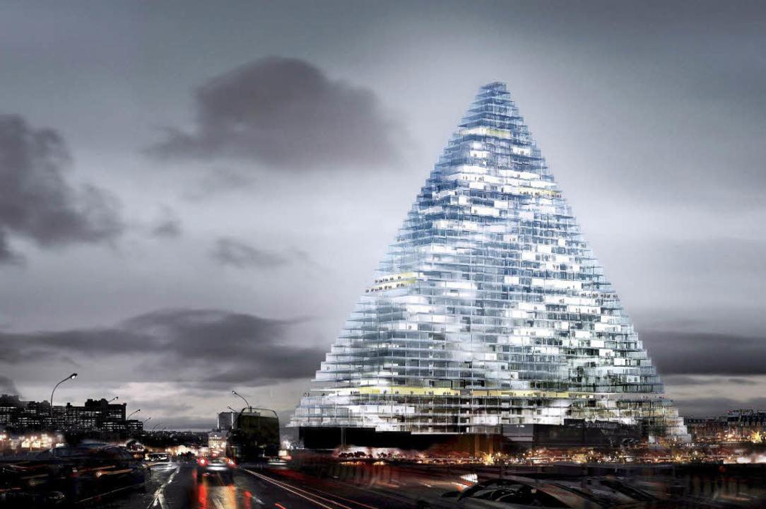 Gigantisches  Glitzerding: Modell der ... de Meuron  entworfenen Tour Triangle     Foto: dpa