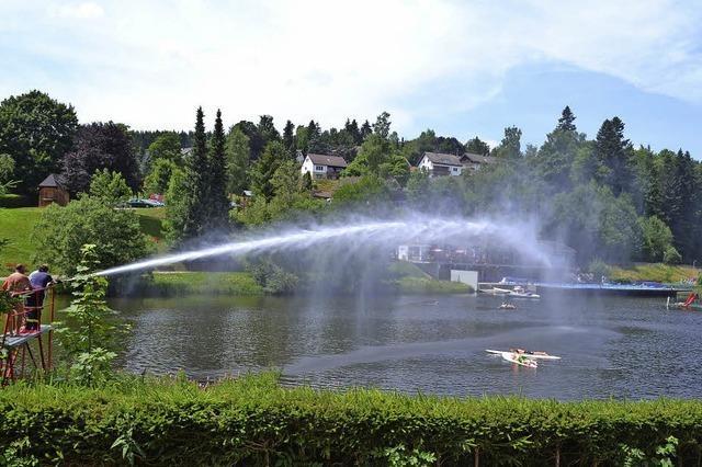 Wasserfontäne über dem See
