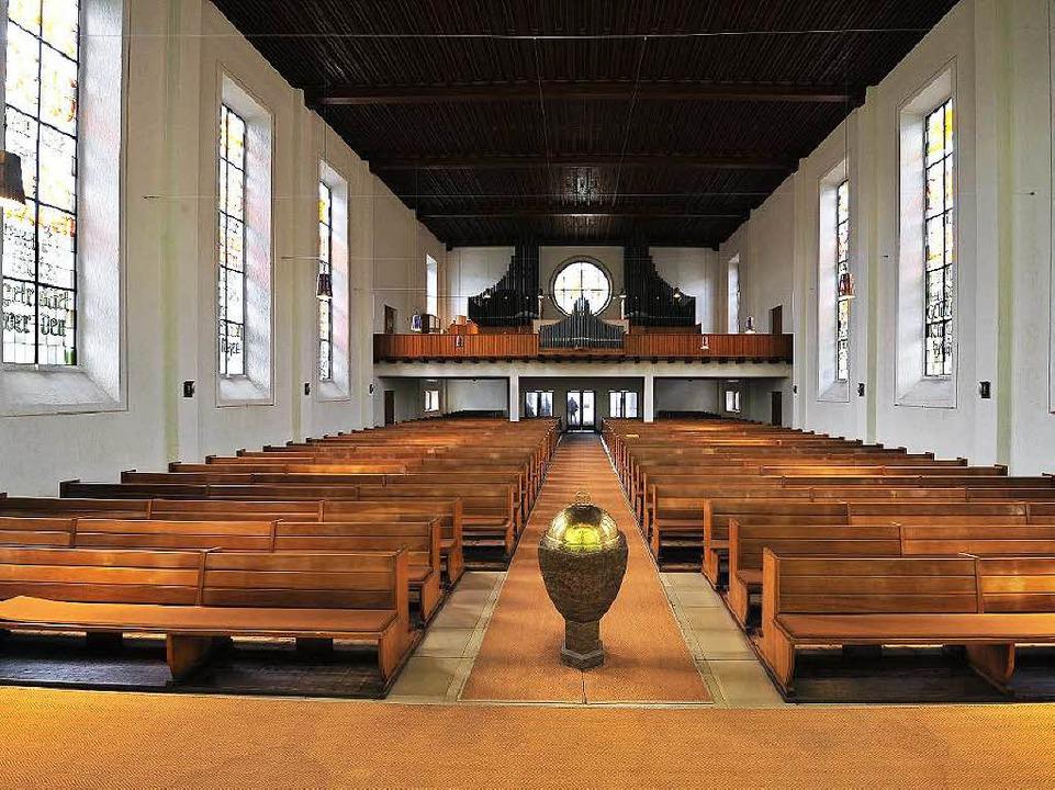 Der große rechteckige hohe Kirchenraum...n eines Hörsaals darin unterzubringen.  | Foto: Thomas Kunz
