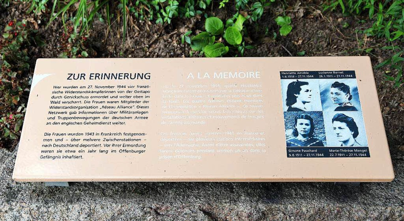 Wieder gereinigt: Tafel für ermordete  Résistance-Kämpferinnen.   | Foto: Heck