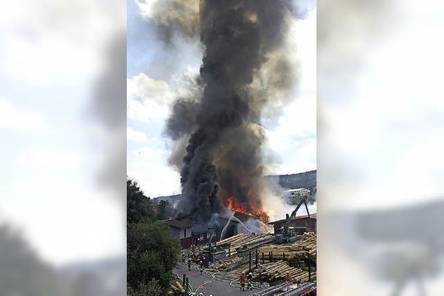 Großfeuer zerstört Sägewerkshallen
