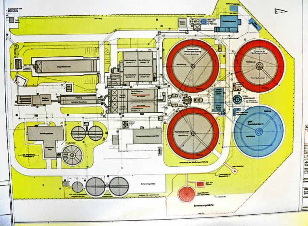 Um ein viertes Klärbecken (blau) wird das Klärwerk in Kappel erweitert.    Foto: Klaus Fischer