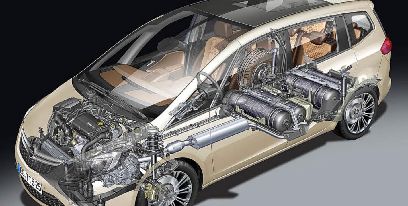 Ausgereift ist die Erdgastechnik schon...m Opel Zafira CNG mit Unterflurtanks.   | Foto: werksfoto
