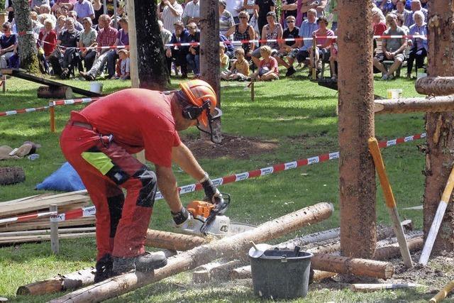 Kindertraktorenrennen und Holzfällerwettbewerb und Hock in Häusern