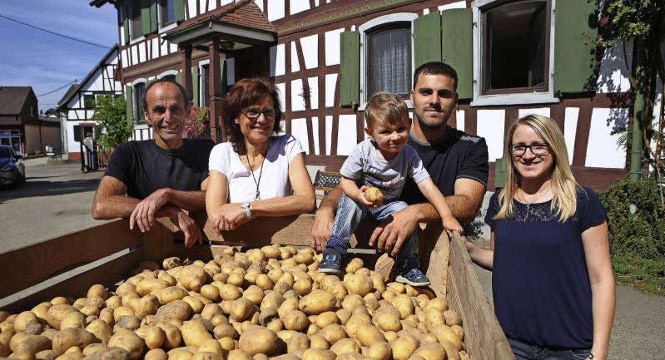 Die Wurths vor der Kartoffelkiste: (vo... Rolf, Andrea, Luan, Jannik, Samantha     Foto: christoph breithaupt
