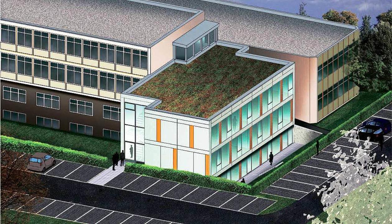 Die Breisacher Gewerbeschule braucht d...au (im Vordergrund) geschaffen werden.  | Foto: Vorlage: Architekten plp