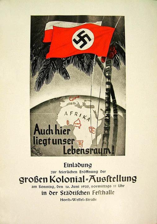 Einladungskarte mit den ehemaligen deutschen Kolonien  | Foto: Stadtarchiv Freiburg