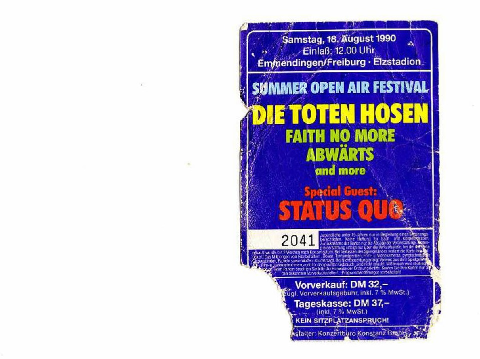 Diese Eintrittskarte hat der Bleibacher Willi Wehrle 25 Jahre lang behalten.    Foto: Willi Wehrle