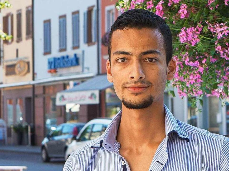 Basel Kridli, 22, hofft darauf, bald w...rgangsbester zu werden, wie in Syrien.  | Foto: Konstantin Goerlich